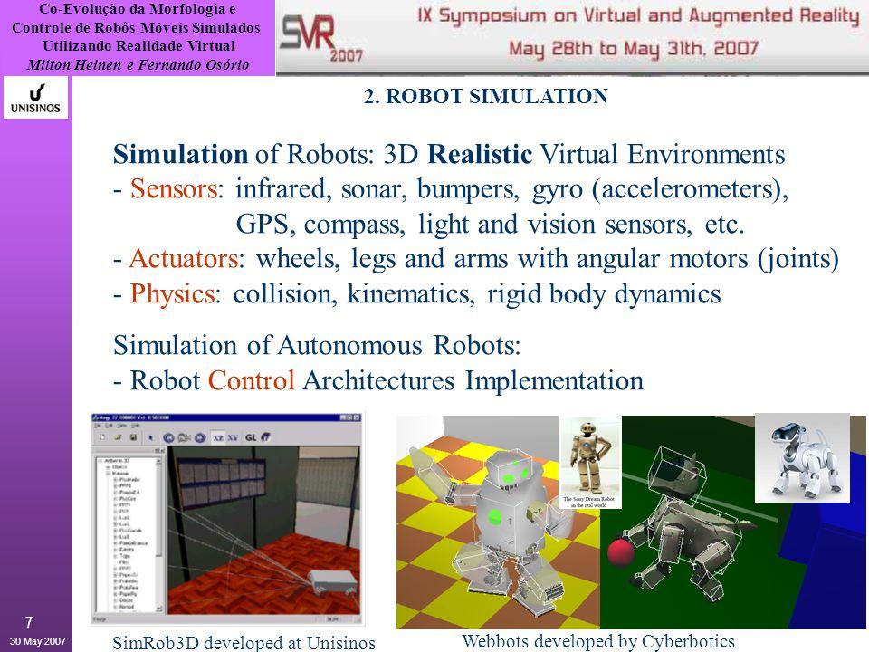 Co-Evolução da Morfologia e Controle de Robôs Móveis Simulados Utilizando Realidade Virtual Milton Heinen e Fernando Osório 30 May 2007 8 3.