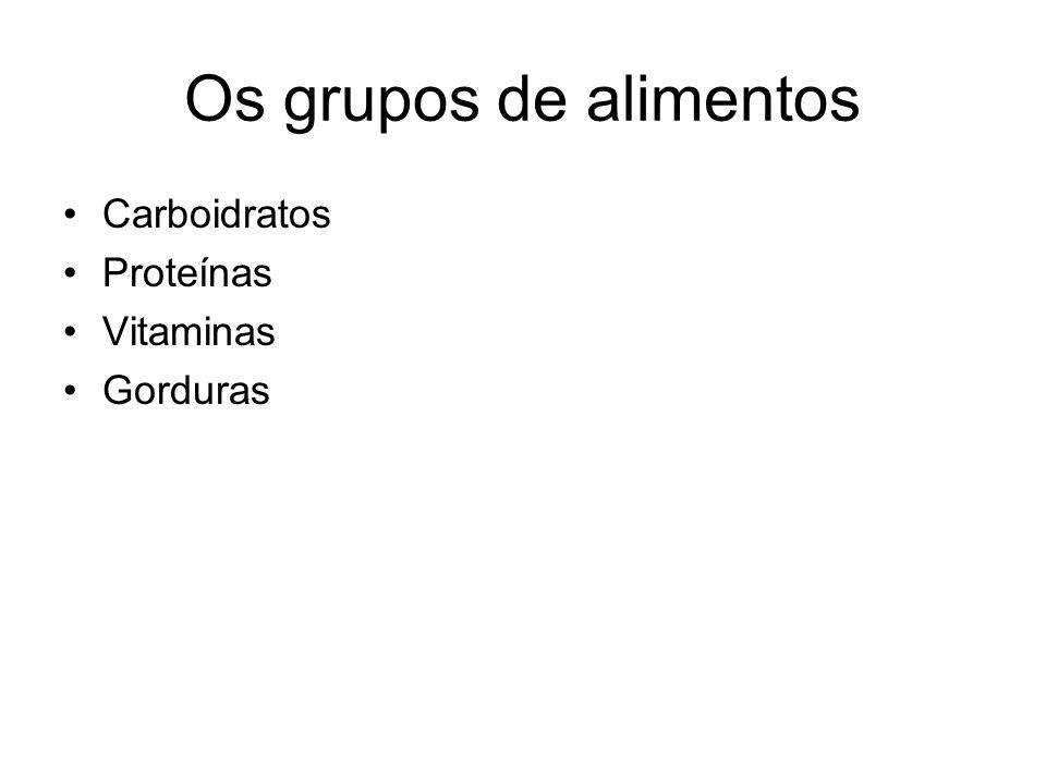 Os grupos de alimentos Carboidratos Proteínas Vitaminas Gorduras