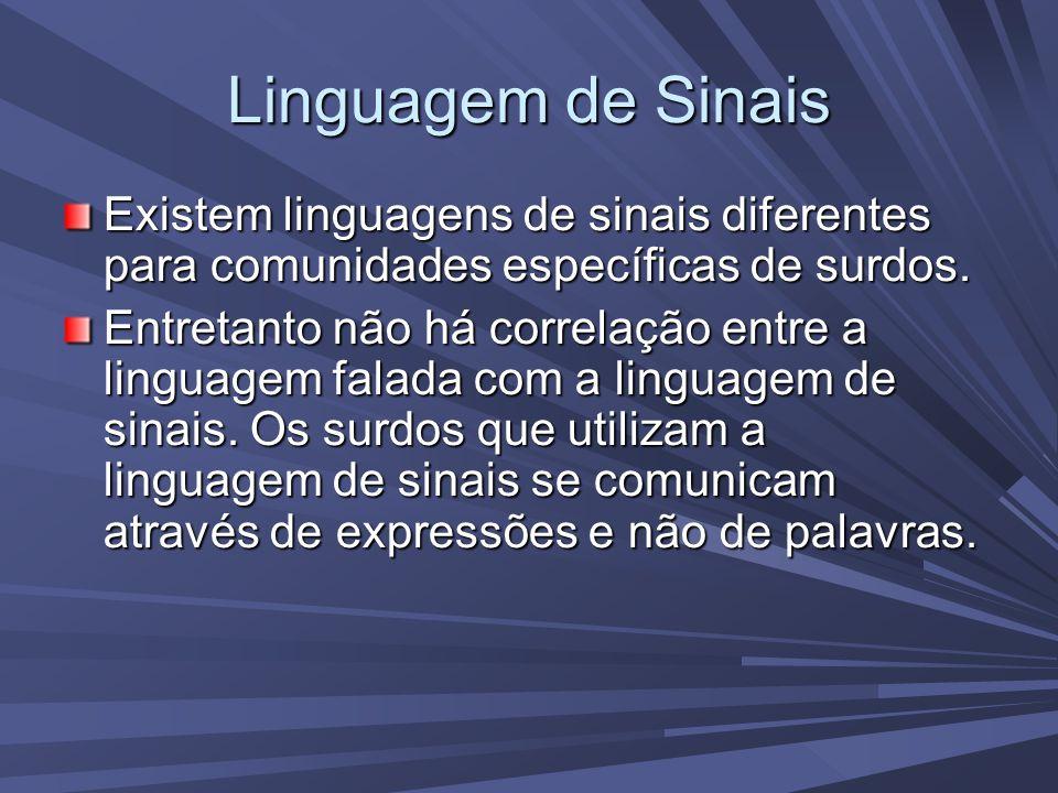 Linguagem de Sinais Existem linguagens de sinais diferentes para comunidades específicas de surdos.