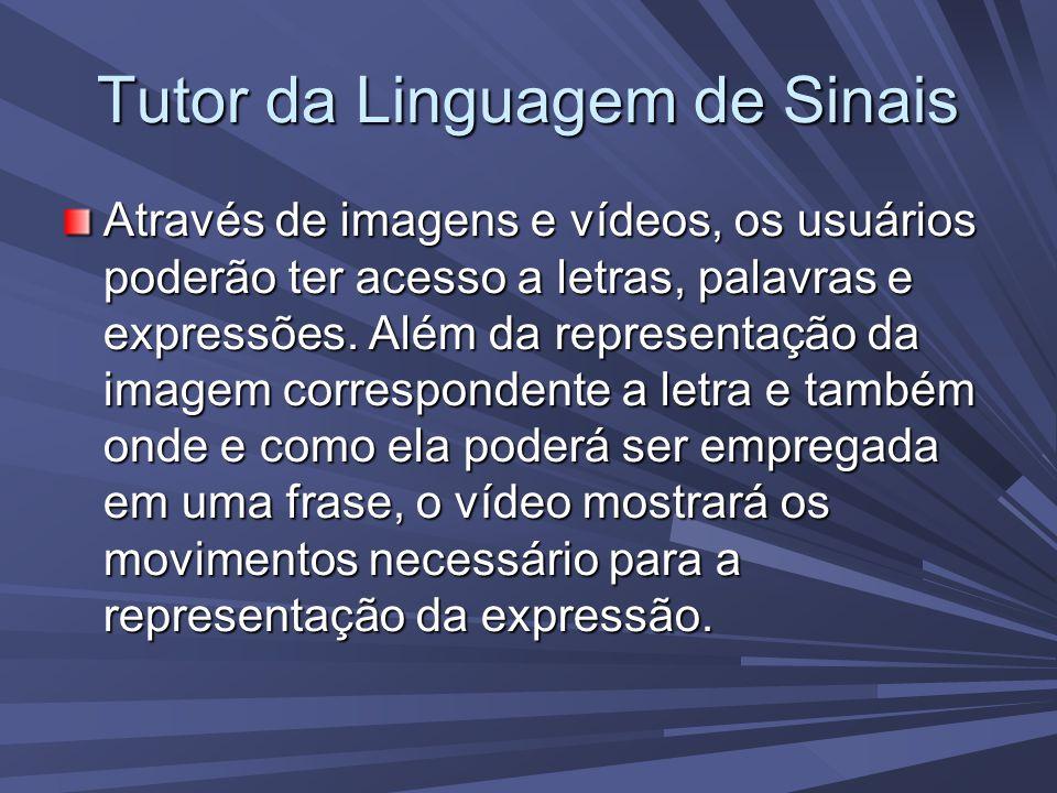 Tutor da Linguagem de Sinais Através de imagens e vídeos, os usuários poderão ter acesso a letras, palavras e expressões.