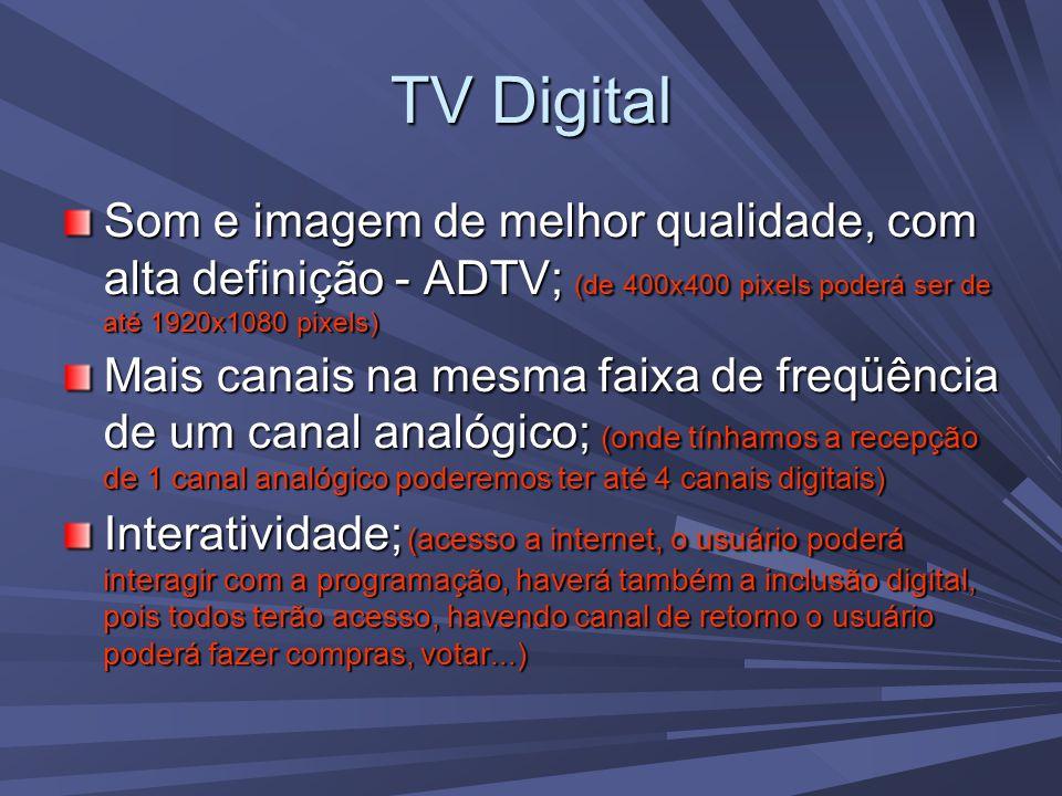 TV Digital Som e imagem de melhor qualidade, com alta definição - ADTV; (de 400x400 pixels poderá ser de até 1920x1080 pixels) Mais canais na mesma faixa de freqüência de um canal analógico; (onde tínhamos a recepção de 1 canal analógico poderemos ter até 4 canais digitais) Interatividade; (acesso a internet, o usuário poderá interagir com a programação, haverá também a inclusão digital, pois todos terão acesso, havendo canal de retorno o usuário poderá fazer compras, votar...)