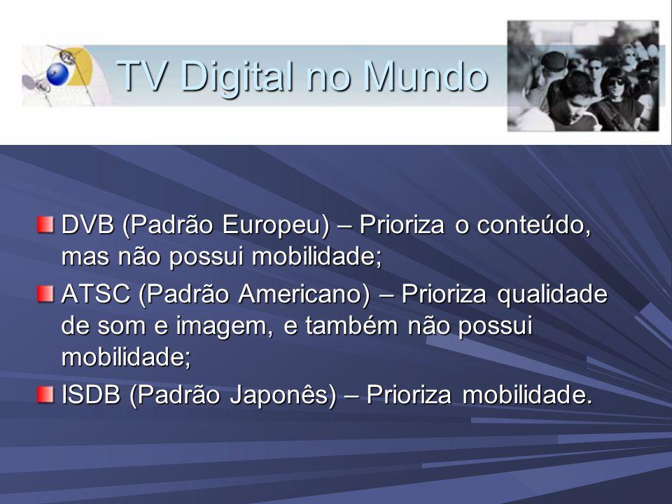 TV Digital no Mundo DVB (Padrão Europeu) – Prioriza o conteúdo, mas não possui mobilidade; ATSC (Padrão Americano) – Prioriza qualidade de som e imagem, e também não possui mobilidade; ISDB (Padrão Japonês) – Prioriza mobilidade.