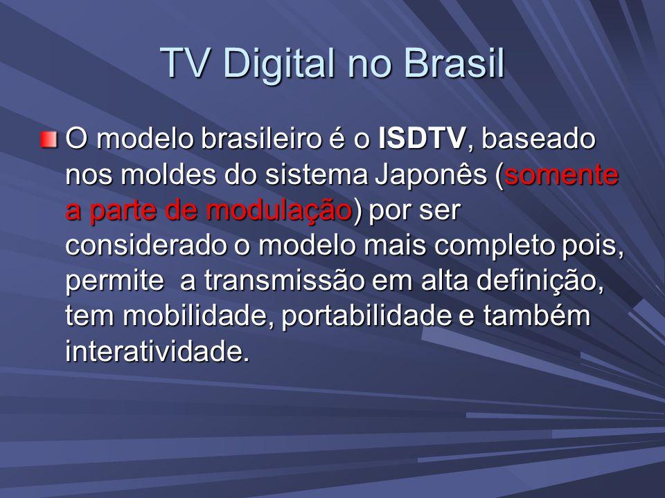 TV Digital no Brasil Já em funcionamento em algumas cidades, como São Paulo, tem previsto para fim de 2007 sua implementação nas principais cidades do Brasil.