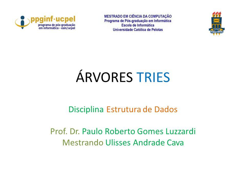 ÁRVORES TRIES Disciplina Estrutura de Dados Prof. Dr. Paulo Roberto Gomes Luzzardi Mestrando Ulisses Andrade Cava