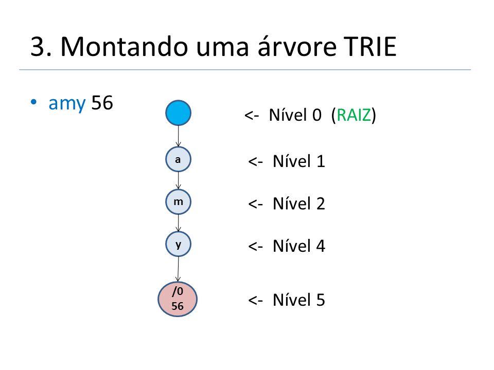 3. Montando uma árvore TRIE amy 56 a m y /0 56 <- Nível 0 (RAIZ) <- Nível 1 <- Nível 2 <- Nível 4 <- Nível 5