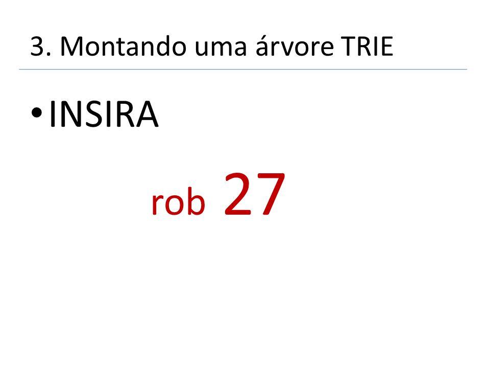 3. Montando uma árvore TRIE INSIRA rob 27