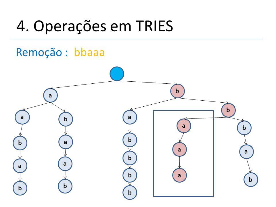4. Operações em TRIES Remoção : bbaaa a a b b a a b a a b b b a b a b a a b b b b