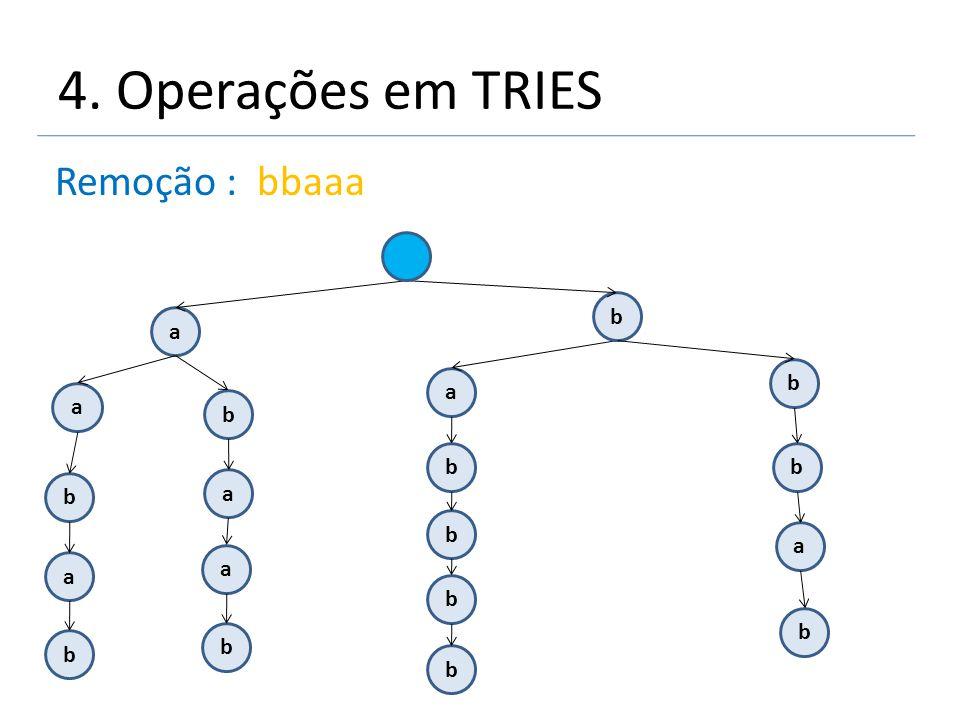 4. Operações em TRIES Remoção : bbaaa a a b b a a b b b b a b a b a b b b b