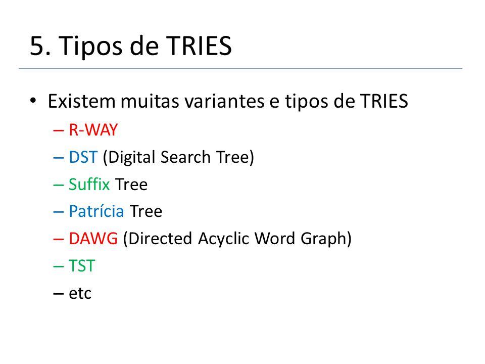 5. Tipos de TRIES Existem muitas variantes e tipos de TRIES – R-WAY – DST (Digital Search Tree) – Suffix Tree – Patrícia Tree – DAWG (Directed Acyclic