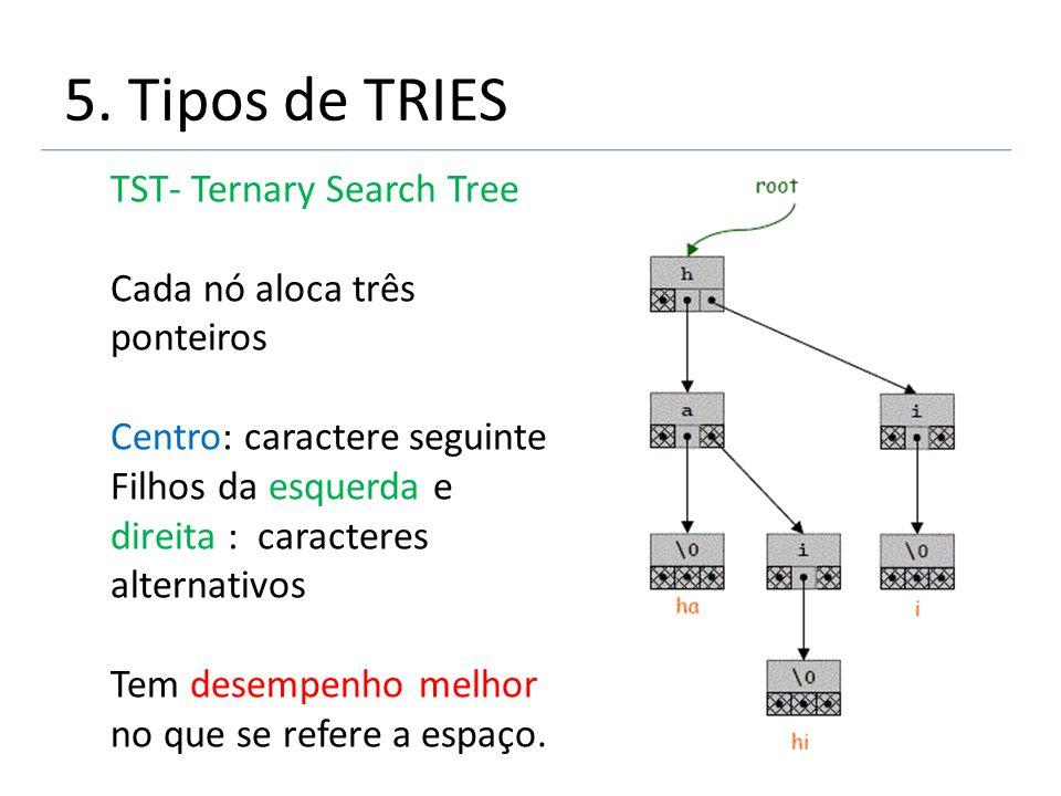 5. Tipos de TRIES TST- Ternary Search Tree Cada nó aloca três ponteiros Centro: caractere seguinte Filhos da esquerda e direita : caracteres alternati