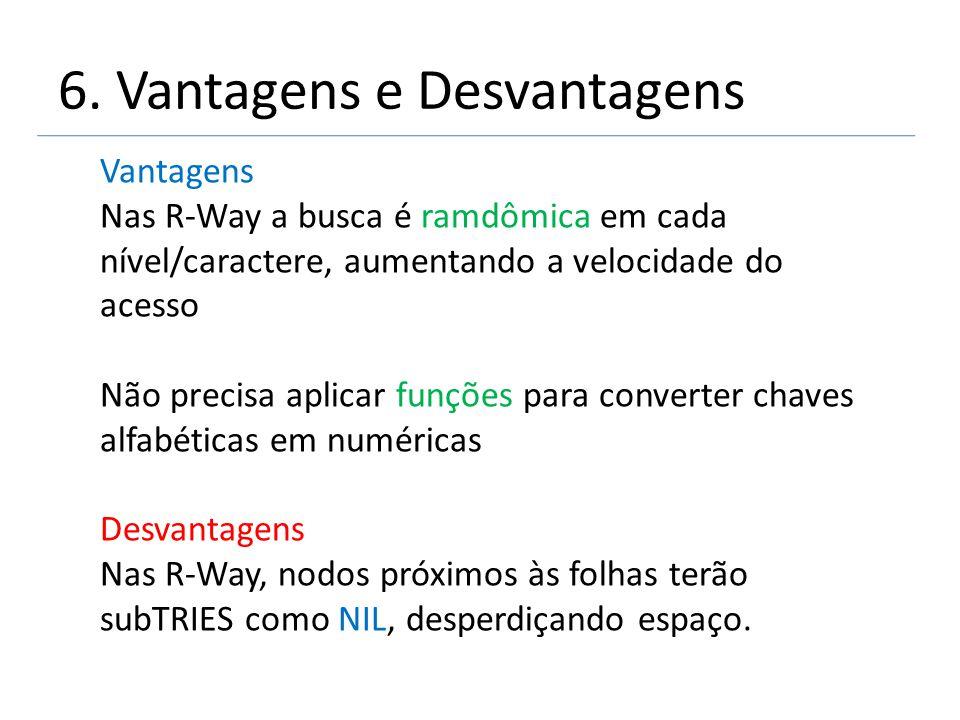 6. Vantagens e Desvantagens Vantagens Nas R-Way a busca é ramdômica em cada nível/caractere, aumentando a velocidade do acesso Não precisa aplicar fun