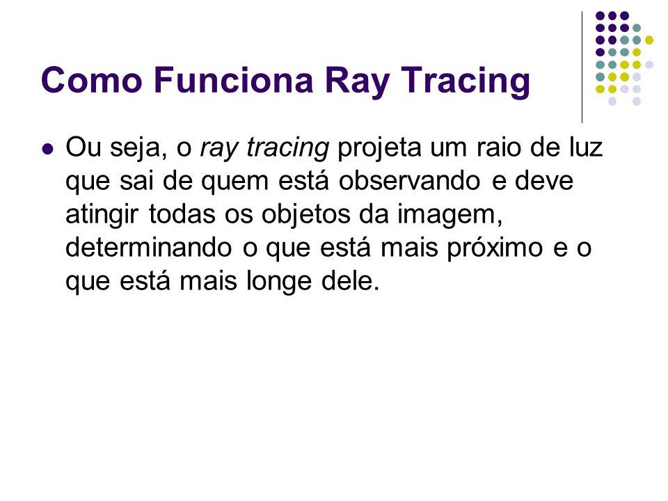 Como Funciona Ray Tracing Ou seja, o ray tracing projeta um raio de luz que sai de quem está observando e deve atingir todas os objetos da imagem, determinando o que está mais próximo e o que está mais longe dele.