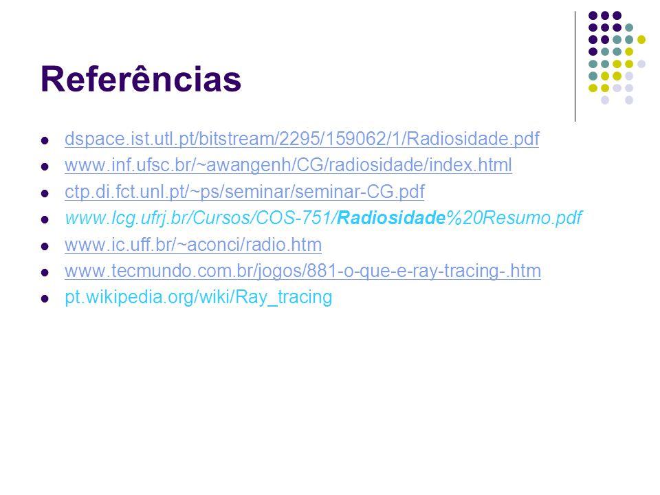 Referências dspace.ist.utl.pt/bitstream/2295/159062/1/Radiosidade.pdf www.inf.ufsc.br/~awangenh/CG/radiosidade/index.html ctp.di.fct.unl.pt/~ps/seminar/seminar-CG.pdf www.lcg.ufrj.br/Cursos/COS-751/Radiosidade%20Resumo.pdf www.ic.uff.br/~aconci/radio.htm www.tecmundo.com.br/jogos/881-o-que-e-ray-tracing-.htm pt.wikipedia.org/wiki/Ray_tracing