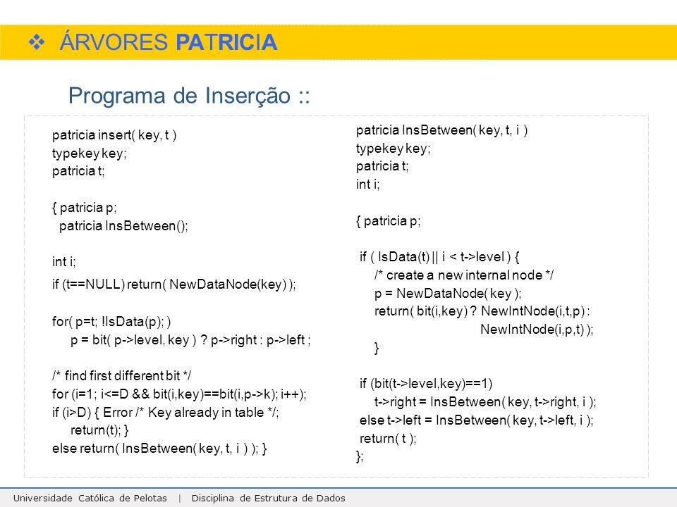 Universidade Católica de Pelotas | Disciplina de Estrutura de Dados  ÁRVORES PATRICIA Programa de Inserção :: patricia insert( key, t ) typekey key;