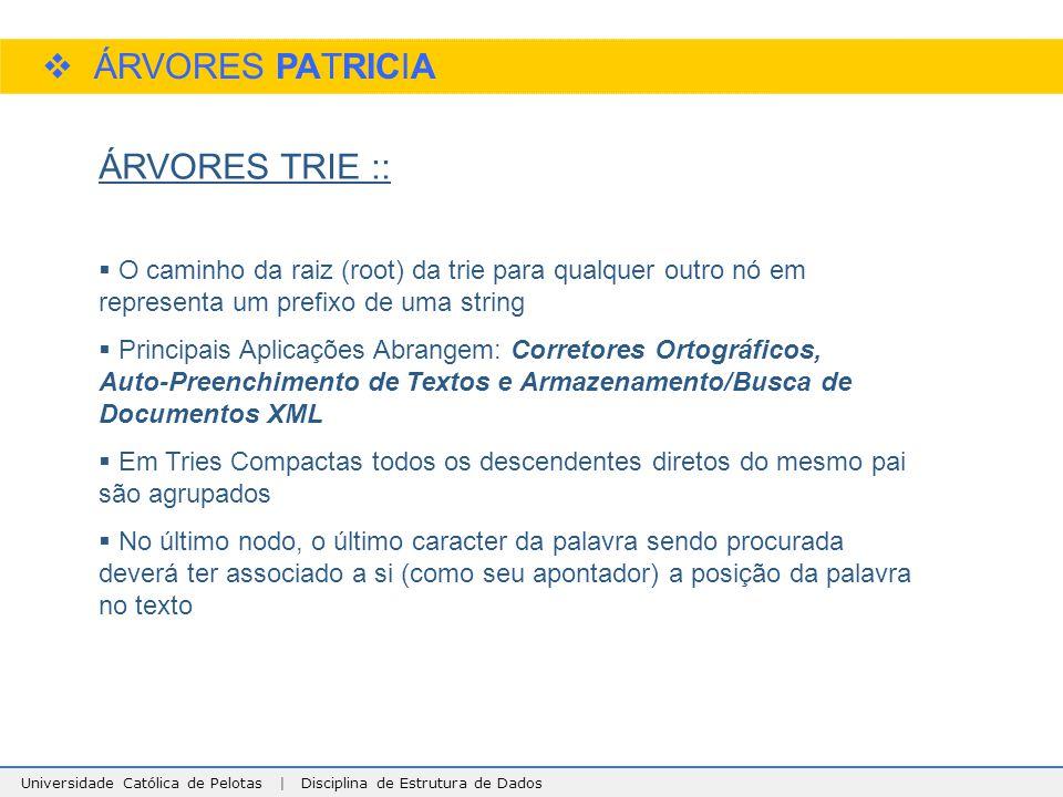Universidade Católica de Pelotas | Disciplina de Estrutura de Dados  ÁRVORES PATRICIA ÁRVORES TRIE ::  O caminho da raiz (root) da trie para qualque