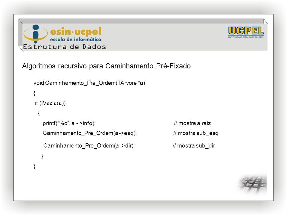 """Algoritmos recursivo para Caminhamento Pré-Fixado void Caminhamento_Pre_Ordem(TArvore *a) { if (!Vazia(a)) { printf(""""%c"""", a - >info); // mostra a raiz"""