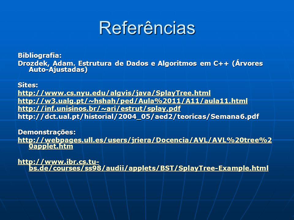 Referências Bibliografia: Drozdek, Adam. Estrutura de Dados e Algoritmos em C++ (Árvores Auto-Ajustadas) Sites: http://www.cs.nyu.edu/algvis/java/Spla