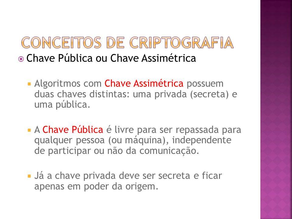  Chave Pública ou Chave Assimétrica  Algoritmos com Chave Assimétrica possuem duas chaves distintas: uma privada (secreta) e uma pública.