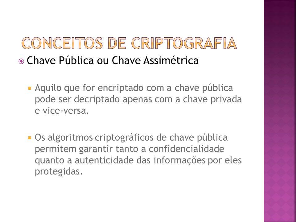  Chave Pública ou Chave Assimétrica  Aquilo que for encriptado com a chave pública pode ser decriptado apenas com a chave privada e vice-versa.