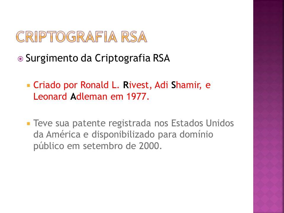  Surgimento da Criptografia RSA  Criado por Ronald L.
