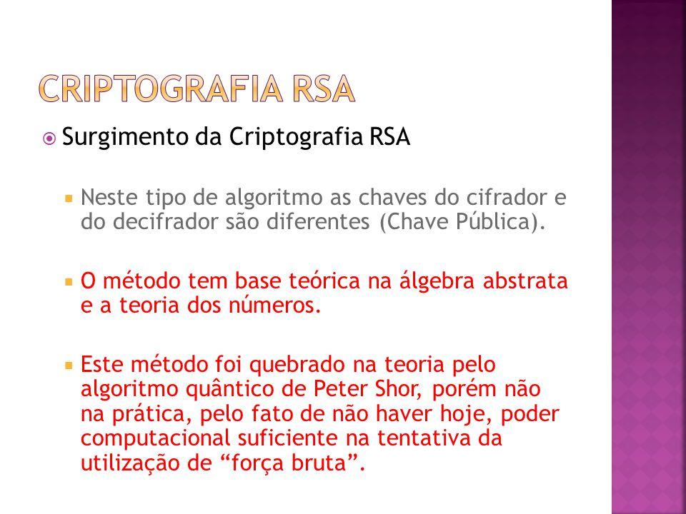  Surgimento da Criptografia RSA  Neste tipo de algoritmo as chaves do cifrador e do decifrador são diferentes (Chave Pública).