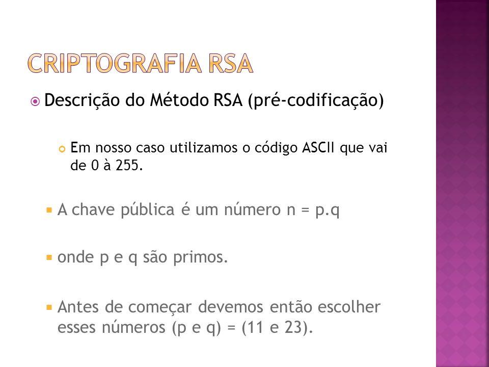  Descrição do Método RSA (pré-codificação) Em nosso caso utilizamos o código ASCII que vai de 0 à 255.