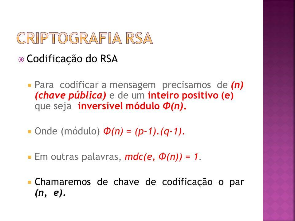  Codificação do RSA  Para codificar a mensagem precisamos de (n) (chave pública) e de um inteiro positivo (e) que seja inversível módulo Φ(n).