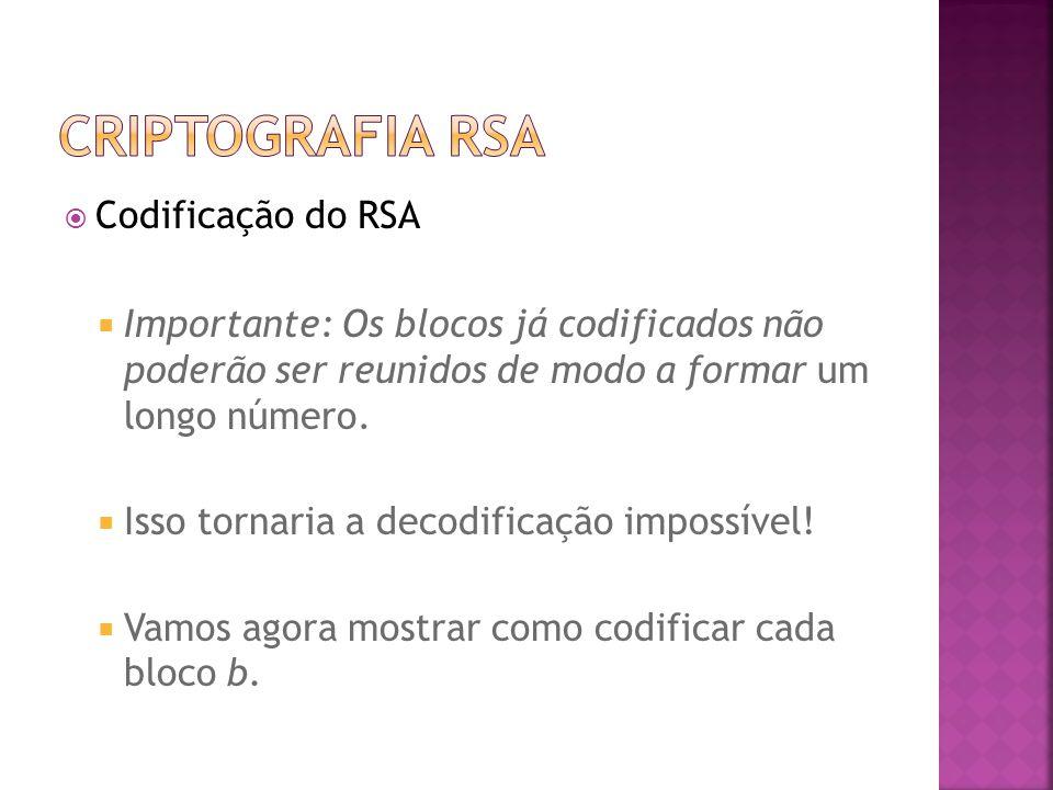  Codificação do RSA  Importante: Os blocos já codificados não poderão ser reunidos de modo a formar um longo número.
