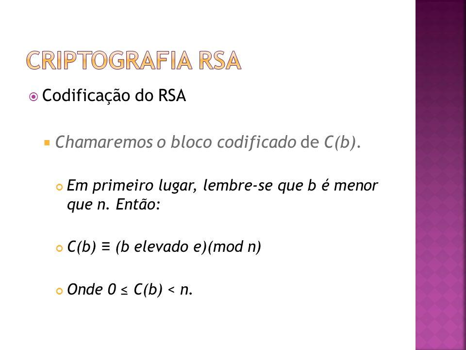  Codificação do RSA  Chamaremos o bloco codificado de C(b).