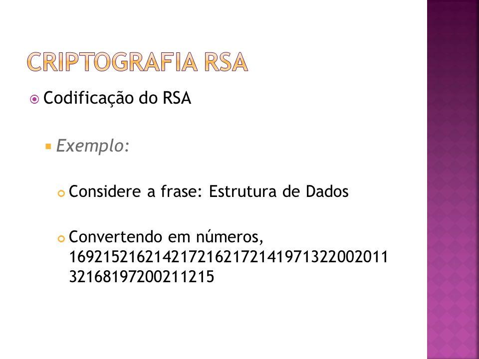  Codificação do RSA  Exemplo: Considere a frase: Estrutura de Dados Convertendo em números, 1692152162142172162172141971322002011 32168197200211215