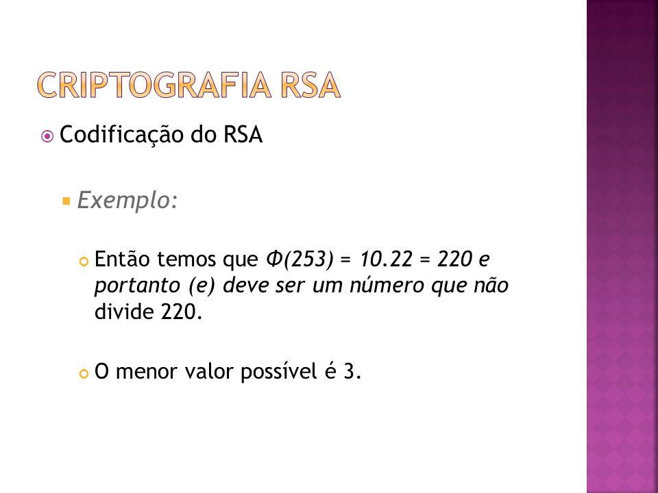  Codificação do RSA  Exemplo: Então temos que Φ(253) = 10.22 = 220 e portanto (e) deve ser um número que não divide 220.