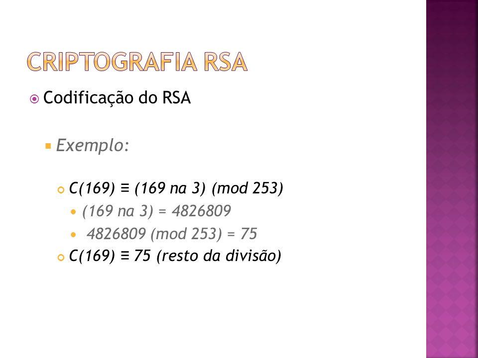  Codificação do RSA  Exemplo: C(169) ≡ (169 na 3) (mod 253) (169 na 3) = 4826809 4826809 (mod 253) = 75 C(169) ≡ 75 (resto da divisão)