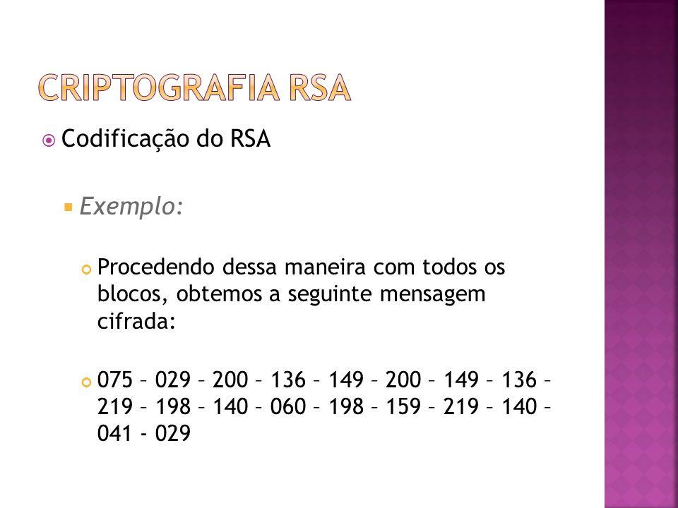  Codificação do RSA  Exemplo: Procedendo dessa maneira com todos os blocos, obtemos a seguinte mensagem cifrada: 075 – 029 – 200 – 136 – 149 – 200 – 149 – 136 – 219 – 198 – 140 – 060 – 198 – 159 – 219 – 140 – 041 - 029