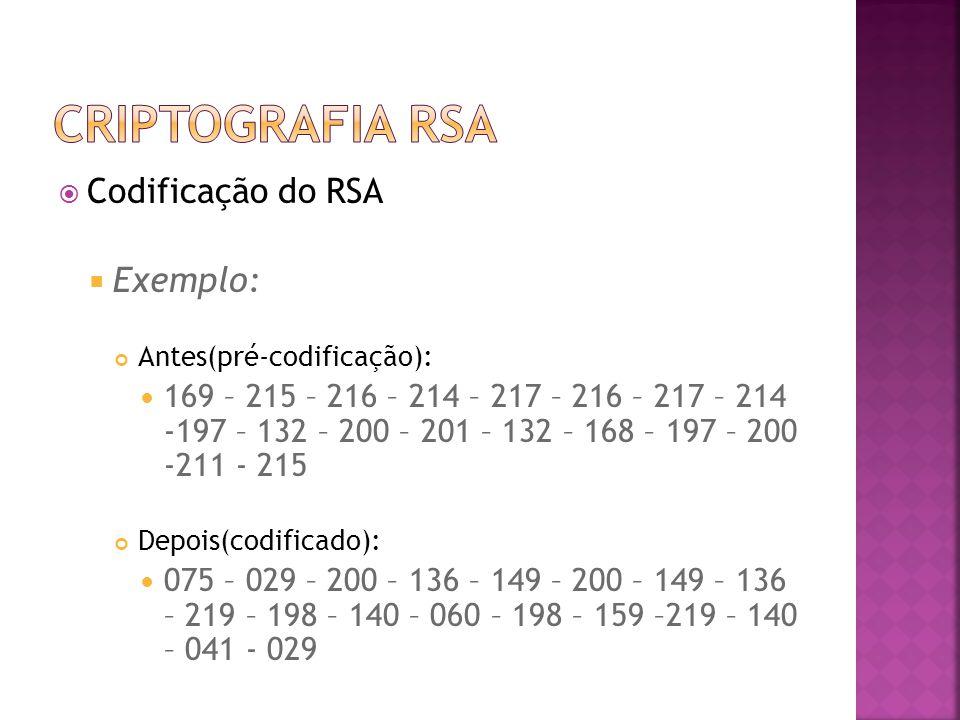  Codificação do RSA  Exemplo: Antes(pré-codificação): 169 – 215 – 216 – 214 – 217 – 216 – 217 – 214 -197 – 132 – 200 – 201 – 132 – 168 – 197 – 200 -211 - 215 Depois(codificado): 075 – 029 – 200 – 136 – 149 – 200 – 149 – 136 – 219 – 198 – 140 – 060 – 198 – 159 –219 – 140 – 041 - 029