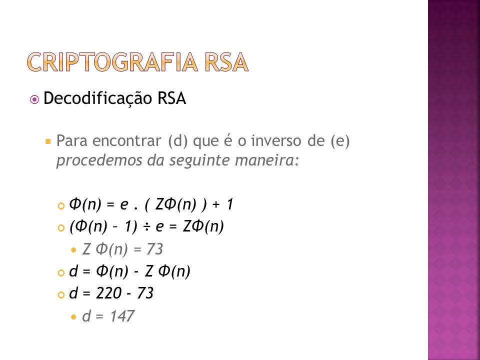  Decodificação RSA  Para encontrar (d) que é o inverso de (e) procedemos da seguinte maneira: Φ(n) = e.