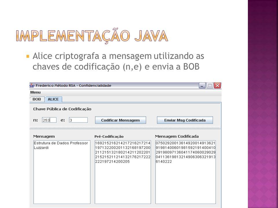  Alice criptografa a mensagem utilizando as chaves de codificação (n,e) e envia a BOB
