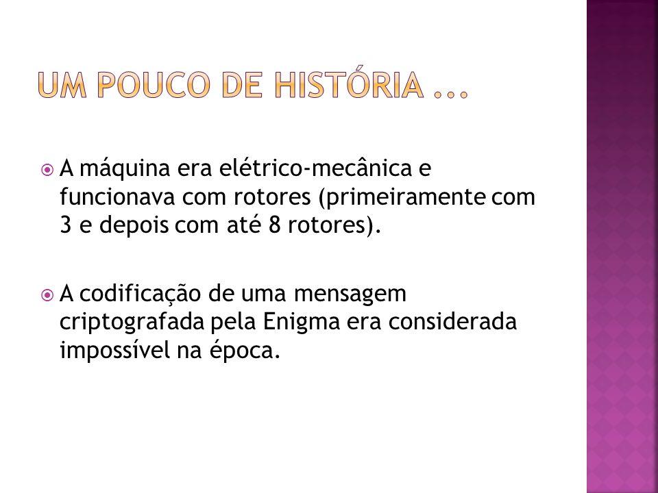  A máquina era elétrico-mecânica e funcionava com rotores (primeiramente com 3 e depois com até 8 rotores).
