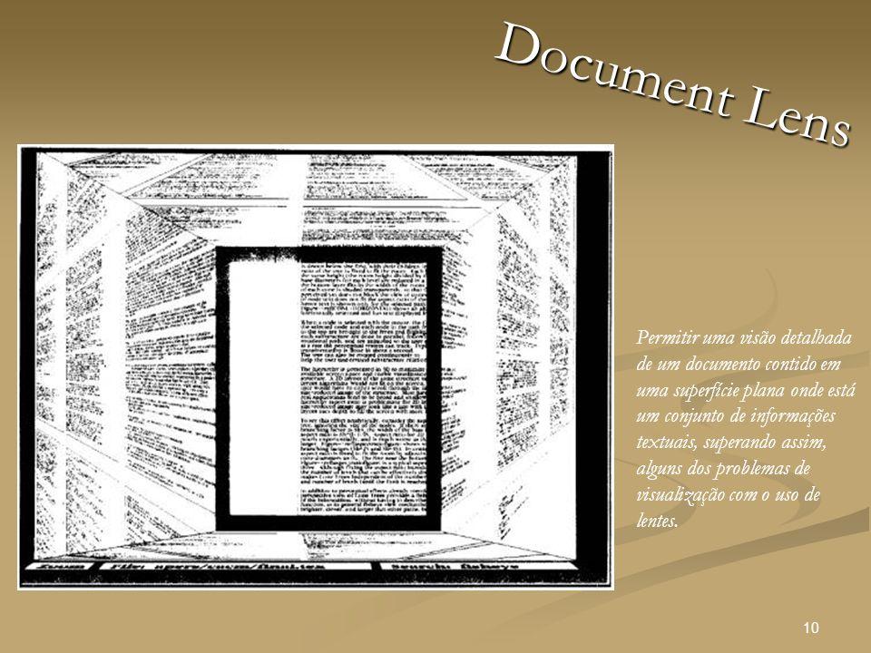10 Document Lens Permitir uma visão detalhada de um documento contido em uma superfície plana onde está um conjunto de informações textuais, superando assim, alguns dos problemas de visualização com o uso de lentes.