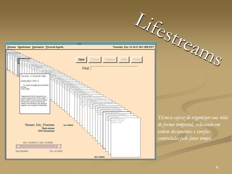 4 Lifestreams Técnica capaz de organizar sua vida de forma temporal, colocando em ordem documentos e tarefas controlados pelo fator tempo