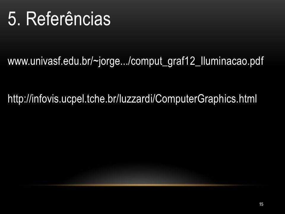 15 5. Referências www.univasf.edu.br/~jorge.../comput_graf12_Iluminacao.pdf http://infovis.ucpel.tche.br/luzzardi/ComputerGraphics.html