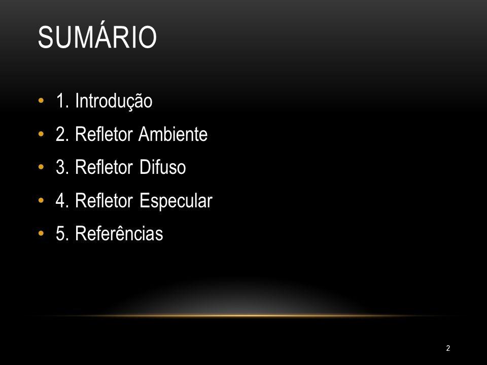 SUMÁRIO 1. Introdução 2. Refletor Ambiente 3. Refletor Difuso 4. Refletor Especular 5. Referências 2