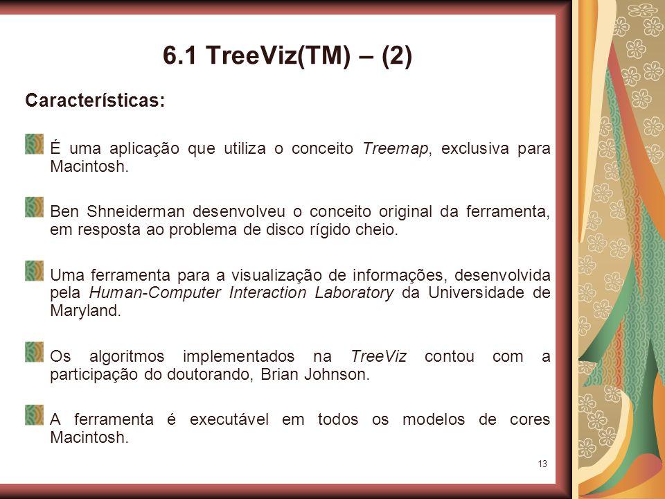 13 6.1 TreeViz(TM) – (2) Características: É uma aplicação que utiliza o conceito Treemap, exclusiva para Macintosh.