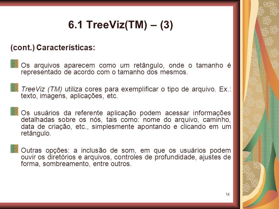14 6.1 TreeViz(TM) – (3) (cont.) Características: Os arquivos aparecem como um retângulo, onde o tamanho é representado de acordo com o tamanho dos mesmos.