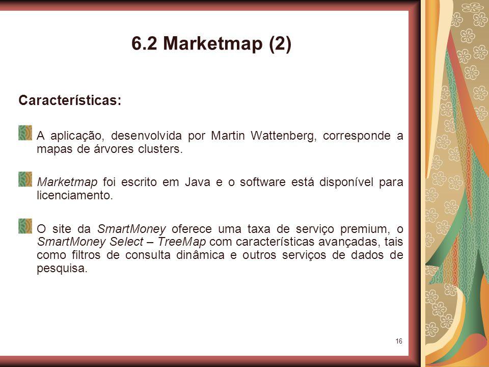 16 6.2 Marketmap (2) Características: A aplicação, desenvolvida por Martin Wattenberg, corresponde a mapas de árvores clusters.