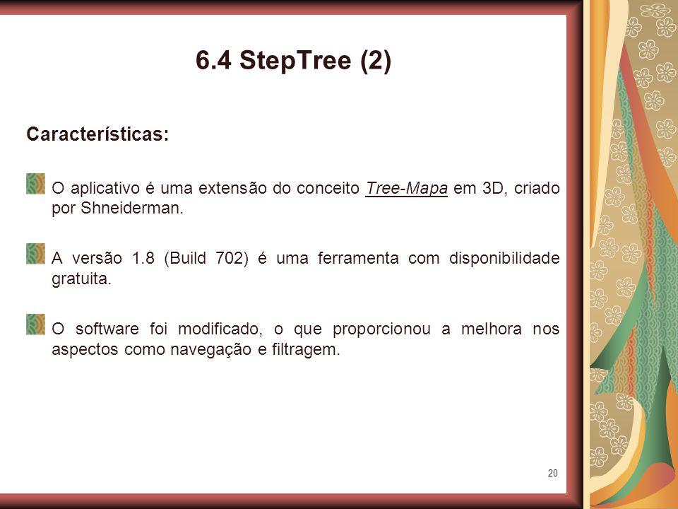 20 6.4 StepTree (2) Características: O aplicativo é uma extensão do conceito Tree-Mapa em 3D, criado por Shneiderman.