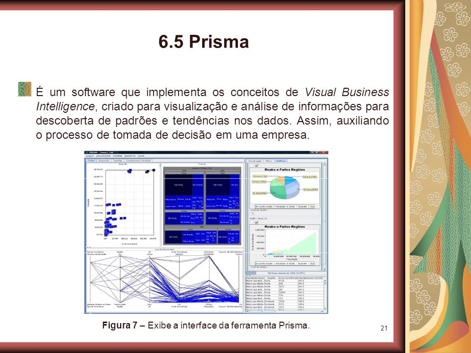 21 6.5 Prisma É um software que implementa os conceitos de Visual Business Intelligence, criado para visualização e análise de informações para descoberta de padrões e tendências nos dados.