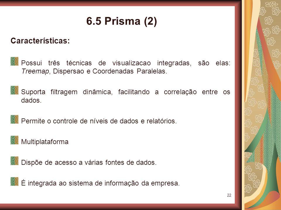 22 6.5 Prisma (2) Características: Possui três técnicas de visualizacao integradas, são elas: Treemap, Dispersao e Coordenadas Paralelas.