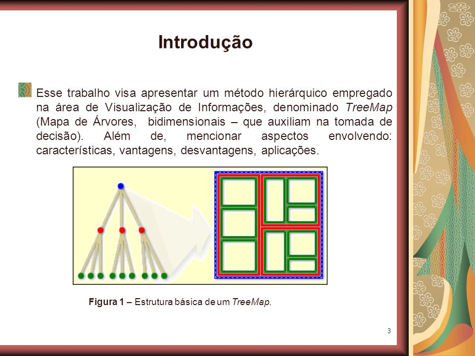 3 Introdução Esse trabalho visa apresentar um método hierárquico empregado na área de Visualização de Informações, denominado TreeMap (Mapa de Árvores, bidimensionais – que auxiliam na tomada de decisão).