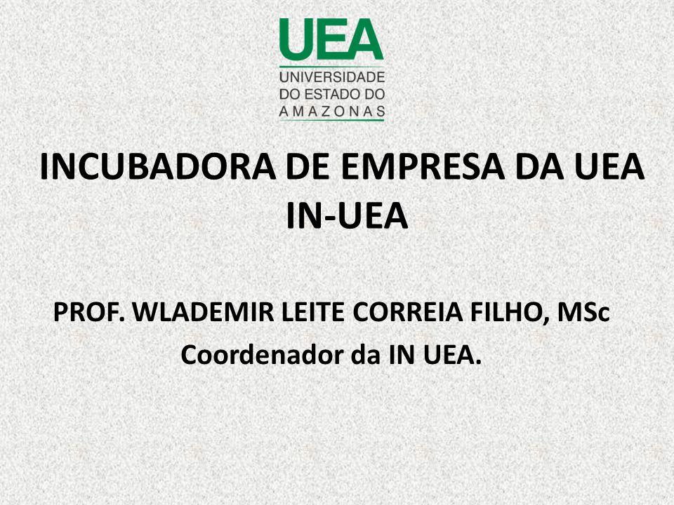 INCUBADORA DE EMPRESA DA UEA IN-UEA PROF. WLADEMIR LEITE CORREIA FILHO, MSc Coordenador da IN UEA.