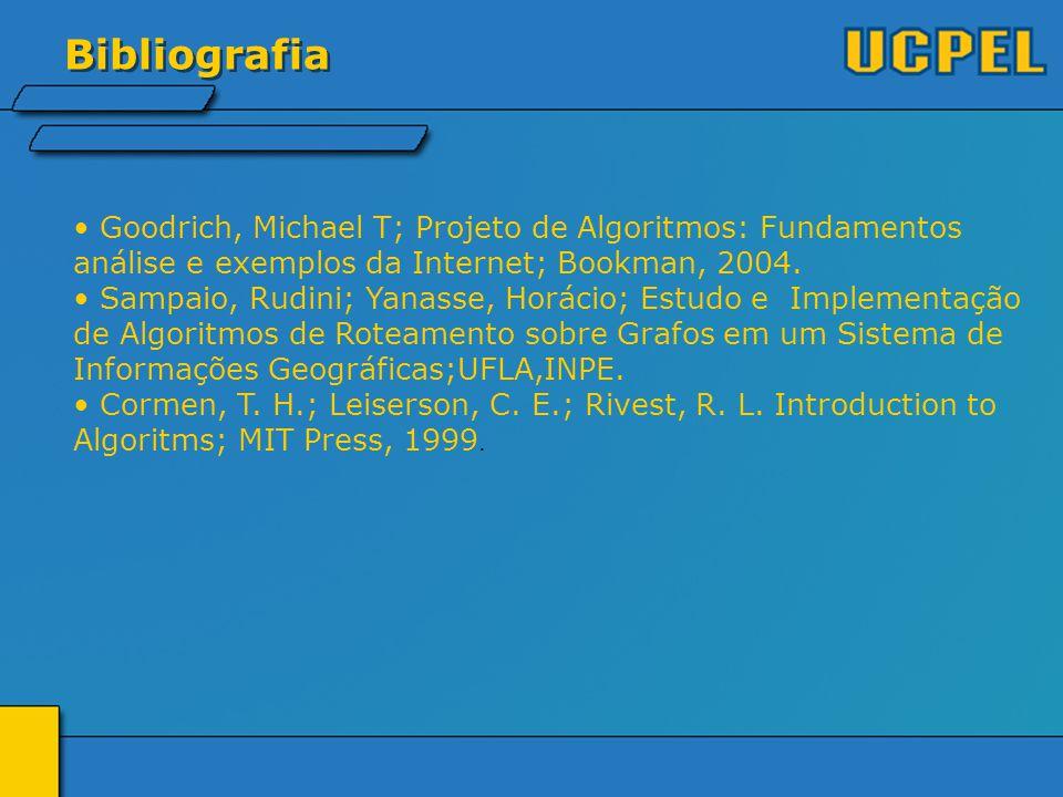 Bibliografia Goodrich, Michael T; Projeto de Algoritmos: Fundamentos análise e exemplos da Internet; Bookman, 2004.